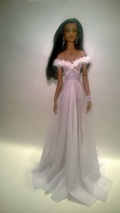 bride doll, Anais wearing a sheer white dress made with diamond belt and bracelet all in the gentleness of beauty. Barbie Wedding Dress, Barbie Dress, Barbie Clothes, Beautiful Black Babies, Beautiful Dolls, Barbie Mode, Fairy Clothes, African American Dolls, Poppy Parker