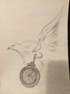 Montre et colombe en dessin