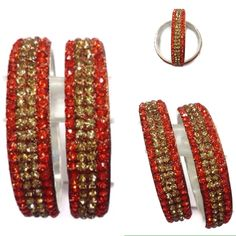Beautifully crafted handmade brass base bangles made with very beautiful orange and golden rhinestones. Gives u very trendy and stylish look with your all types of outfit.