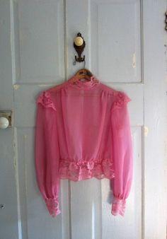 1970s Sheer Fuchsia Pink Victorian Blouse $26.00