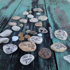 While on our trip (Traveling east coast in RV), we are writing memories on rocks for a memory jar and collecting beautiful shells on all of the beaches <3
