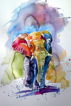 Buy Colorful elephant, Watercolour by Kovács Anna Brigitta on Artfinder. Discover thousands of other original paintings, prints, sculptures and photography from independent artists. African Art Paintings, Animal Paintings, Original Paintings, Watercolor Animals, Watercolor Paintings, Watercolour, Elephant Watercolor, Abstract Paintings, Elephant Artwork