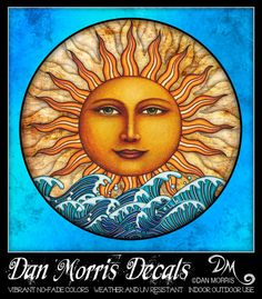 Sticker Decal for Windows Car Laptop more.Dan by DanMorrisArt Pictures Of The Sun, Sun Pics, Buddhist Symbols, Good Day Sunshine, Sun Tattoos, Sun Moon Stars, Faux Stained Glass, Sun Art, Moon Design