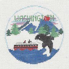 *NEW* Kathy Schenkel WASHINGTON STATE handpainted Needlepoint Canvas Ornament