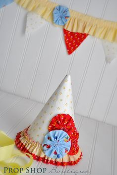 Fabric Birthday Party Hat and Bunting http://www.facebook.com/propshopboutique
