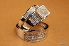 White Gold Over Lab Diamond His And Her Engagement Ring Wedding Band Trio Set #aonejewels