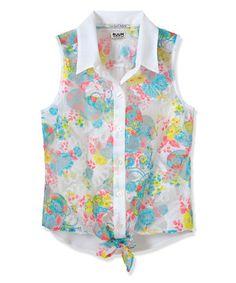 Look at this #zulilyfind! White Floral Tie Front Button-Up - Toddler & Girls by RUUM #zulilyfinds