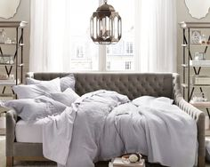 Excellent Full Size Daybed Designs : Traditional Bedroom With Great Upholstered Couch Daybed From Restoration Hardware