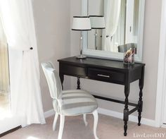 LiveLoveDIY: Thrift Store Desk To Vanity Makeover. This is exactly what I want! Desk & mirror & chair.