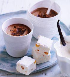 Schokomilch mit Orangen-Marshmallows - Frisch gekocht Marshmallows, Orange, Drinks, Breakfast, Tableware, Hot, Punch, Easy Meals, Food Food