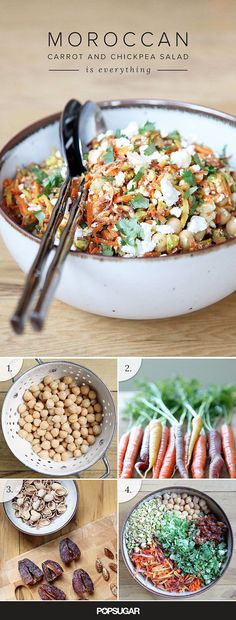 This carrot and chickpea recipe is meal-worthy on its own, makes for a great brown-bag lunch , is gluten-free and vegetarian (even vegan if you ditch the feta for some chopped green olives) and it comes together in about half an hour. Thanks POPSUGAR Food Chickpea Recipes, Veggie Recipes, Whole Food Recipes, Vegetarian Recipes, Cooking Recipes, Healthy Recipes, Carrot Recipes, Whole30 Recipes, Quick Recipes