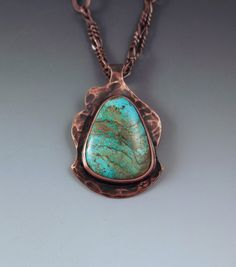 Turquoise & Copper Pendant- Hammered Copper with Patina- Antiqued- Abstract Design- Metal Art Necklace