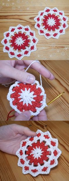 Christmas Crochet Coaster Tutorial - Crochet - Knitting Tutorials And Patterns Christmas Crochet Patterns, Holiday Crochet, Crochet Snowflakes, Crochet Gifts, Christmas Snowflakes, Crochet Christmas Decorations, Christmas Flowers, Christmas Ideas, Christmas Gifts