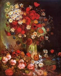 Vase with Poppies Cornflowers Peonies and Chrysanthemums, Artist: Vincent van Gogh