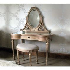 Antoinette Carved Oak Dressing Table with Mirror - Dressing Tables - Bedroom Design Ideas - Hand Carved Wood Table  This classic French dressing table with mirror is great within any setting, and it will stand out in a scheme of either white bedroom furniture or modern interiors.