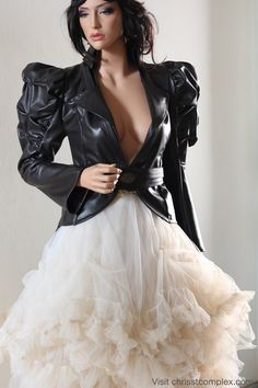 Leather Jacket Harness Tails Tux Black Steampunk by chrisst, $650.00