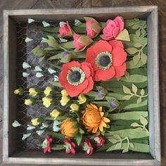 Your place to buy and sell all things handmade Felt Flower Wreaths, Felt Flowers, Fabric Flowers, Paper Flowers, Felt Decorations, Flower Decorations, Flower Shadow Box, Felt Succulents, Pumpkin Flower