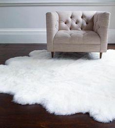 White Fuzzy Bedroom Rug