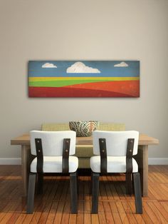 ROLLING PRAIRIE Graphic Landscape Illustration on Stretched and Varnished Canvas Wall Art14 x 42 x 1.5 inches Ready to Hang. $195.00, via Etsy.