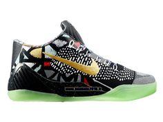 Nike Kobe IX Elite Low iD Chaussures Boutique Nike Officiel Pour Homme Noir - Blanc - Jaune - Vert 639045-ID6