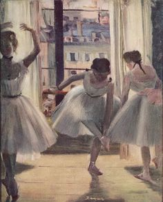 I'm this girl who is always fixing her ribbons on the side.  By Edgar Degas