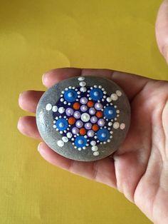 Mandala Stone Hand Painted Rock dot painting by FloridaFunshine