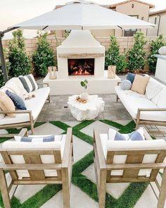 Outdoor Fireplace Designs, Backyard Fireplace, Outdoor Fireplace Plans, Outdoor Fireplaces, Backyard Renovations, Backyard Furniture, Furniture Ideas, Outdoor Furniture Plans, Kid Friendly Outdoor Furniture
