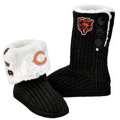 Chicago Bears Women's Black Knit High End Button Boot Slipper