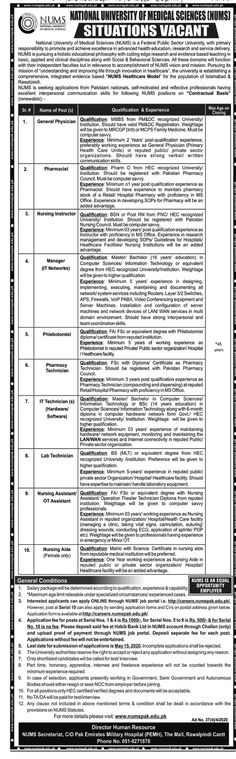 The post National University of Medical Sciences (NUMS) Jobs 2020 appeared first on Latest Jobs in Pakistan. Job Advertisement, Job Ads, Interpersonal Communication, Communication Skills, Medical Science, Science News, The Dawn Newspaper, Un Jobs, Administrative Jobs