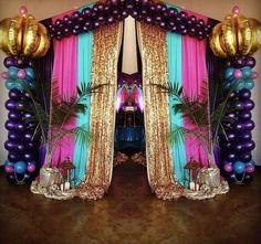 Arabian Nights Birthday Party Entrance from an Arabian Nights Birthday Party on Kara's Party Ideas Festa Tema Arabian Nights, Arabian Nights Prom, Aladdin Arabian Nights, Arabian Theme, Arabian Party, Arabian Nights Theme Party, Arabian Prom Dress, Jasmin Party, Princess Jasmine Party