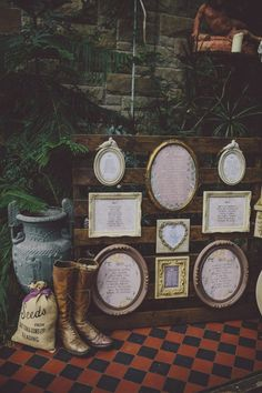 Quirky framed guest seating charts from this Midsummer Night's Dream wedding in Ireland | Image by Ten21 Photography