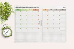 A5 month on two pages, Monthly calender planner, Filofax A5 monthly calendar, a5 travelers notebook, instant download