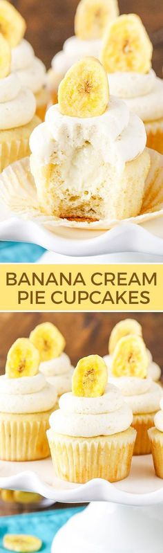Banana Cream Pie Cupcakes - Banana cupcakes, cream pie filling and an amazing banana frosting with a special ingredient! Seriously to die for! Banana cupcakes with cream pie filling topped with banana frosting! Cupcake Recipes, Baking Recipes, Cupcake Cakes, Dessert Recipes, Cup Cakes, Pie Recipes, Peanut Recipes, Picnic Recipes, Cupcake Party