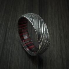 Kuro Damascus Steel Ring with Applejack Wood Hardwood Sleeve Custom Made Wood Band