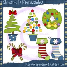 Christmas Decor 2012-2- #Clipart #ResellableClipart #Christmas #ChristmasTrees #Bows #Wreath #CandyCanes #Stockings #Ornaments #Decorations