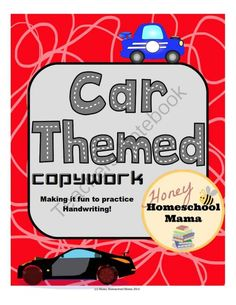 Car Themed Copywork Makes Practicing Handwriting Fun and Easy, Students Copy the Sentences! from HoneyHomeschoolMama on TeachersNotebook.com -  (8 pages)  - These pages are easy to use and fun for kids. They feature cars, car themed clip art, roadway letters, and car themed sentences. Students practice writing while also using proper sentences!