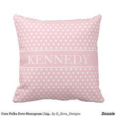 Cute Polka Dots Monogram   Light Pink White