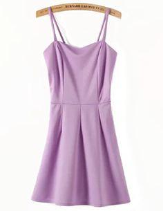 Purple Spaghetti Straps Skater Short Dress - Sheinside.com