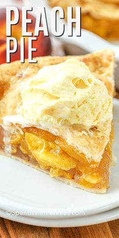 This homemade peach pie is a sweet summer treat made with a fresh peach filling and a flaky homemade pie crust. Try making it with frozen or canned peaches to enjoy this easy dessert all year round! It& a recipe you are definitely going to want to save! Homemade Cherry Pies, Homemade Desserts, Easy Desserts, Dessert Recipes, Easy Peach Pie, Peach Pie Filling, Peach Cobbler Recipe With Premade Pie Crust, Frozen Peaches Pie Recipe, Peach Pie Canned Peaches
