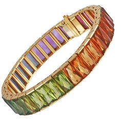 Preowned Multi Colored Semi Precious Faceted Stone Bracelet ($7,800) ❤ liked on Polyvore featuring jewelry, bracelets, multiple, colorful jewelry, multicolor jewelry, semiprecious stone jewelry, pre owned jewelry and preowned jewelry