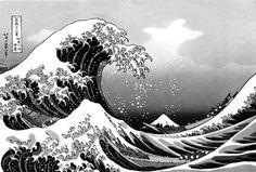 Katsushika Hokusai black and white - Pesquisa Google