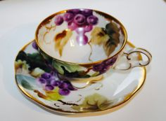 Vintage Lefton China TeaCup & Saucer- Purple,green - tea cup-grape vine teacup