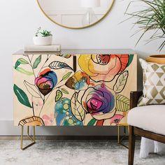 CayenaBlanca Coloured Flowers Credenza | Deny Designs