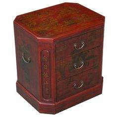 EXP Handmade Oriental Furniture 24-Inch Antique Style Red Leather 3-Drawer End Table, Oriental Poem by EXP. $298.95. Beveled corners feature a string of aesthetically captivating mandarin characters. Features hand-painted traditional chinese motifs of mountains, gnarled trees, and adroit horsemen. Trio of drawers lends this accent piece a functional flair. 24 in. h x 22 in. w x 18 in. l. Features a sturdy wooden frame sheathed in thin layer of red leather. An i...