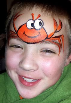 Easy Crab Face painting idea. Pinned for Kidfolio, the parenting app that makes sharing a snap. Download it free from your app store today. kidfol.io