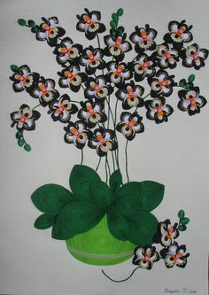 Quilling sticker 3D Photo Black Orchid 100 % par QuillingLife