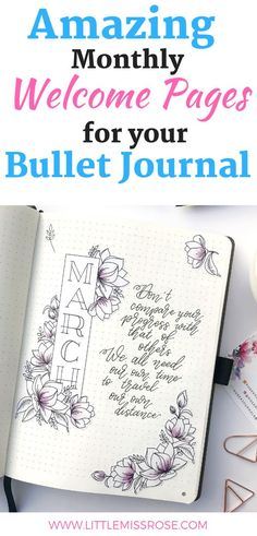 Need inspiration for your next monthly welcome page or hello page in your bullet. - Bullet journal İdeas in 2019 March Bullet Journal, Bullet Journal Cover Page, Journal Covers, Bullet Journal Inspiration, Journal Pages, Journal Ideas, Bullet Journal Dividers, Bullet Journal Examples, Bullet Journal Layout Templates
