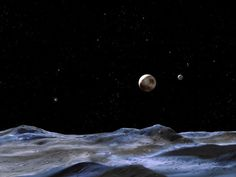 The artist's concept shows the Pluto system from the surface of one of the smaller moons. Pluto is the large dwarf planet at centre, right. Charon, the system's largest moon, is the smaller body to the right of Pluto Sistema Solar, Hubble Space Telescope, Space And Astronomy, Hermann Hesse, Pluto Planet, Moon Surface, Big Moon, Dwarf Planet, Universe Today