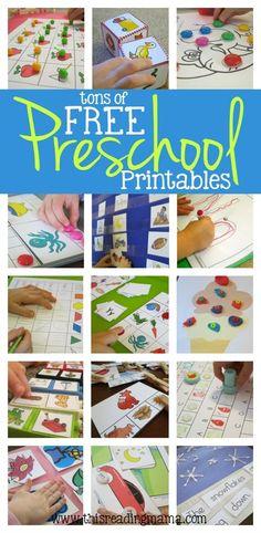 FREE Preschool Printables ~ tons of preschool math games, fine motor activities, ABC games and more.