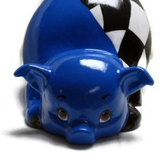 Ceramic Piggy Bank - Bright Blue - Checkered Flag - Racing - Motorsports (23.00 USD) by GrapeVineCeramicsGft
